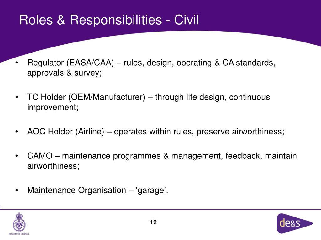 Roles & Responsibilities - Civil