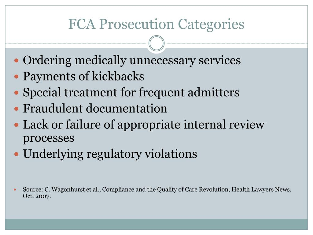 FCA Prosecution Categories