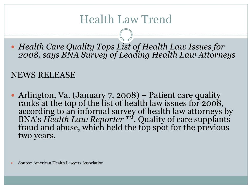Health Law Trend