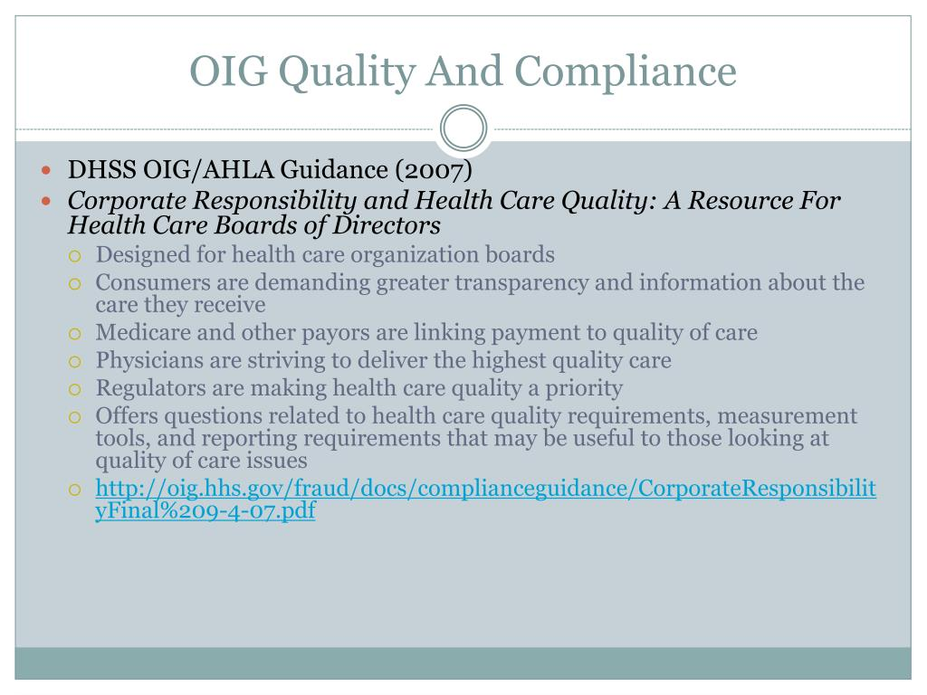 OIG Quality And Compliance