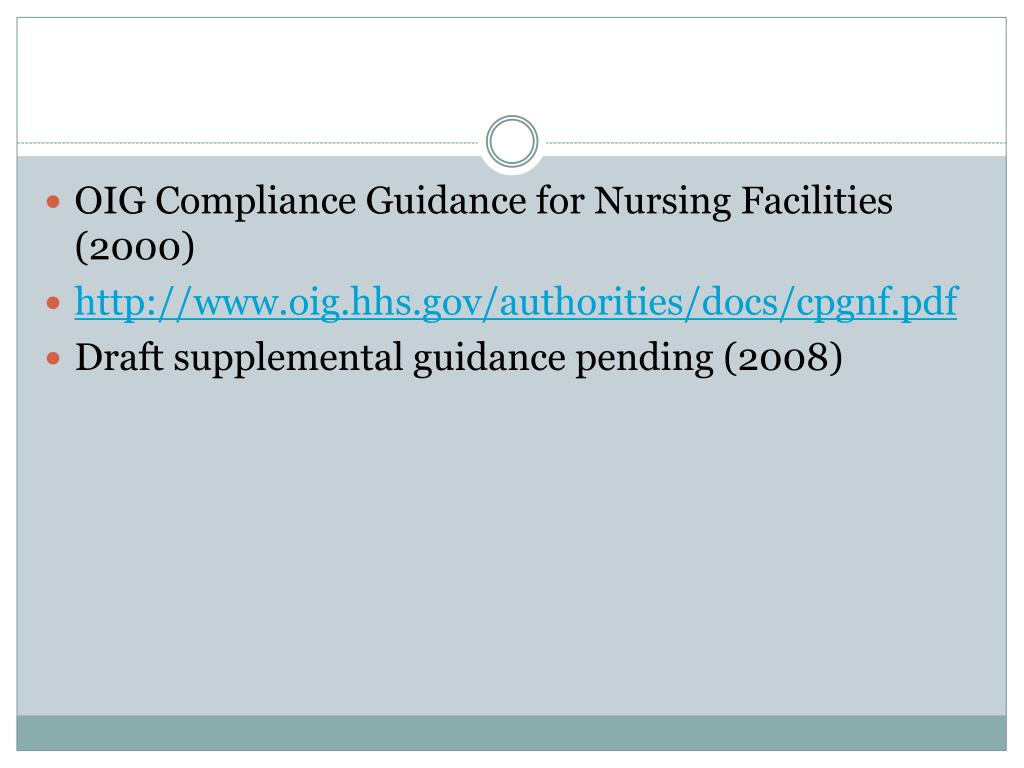 OIG Compliance Guidance for Nursing Facilities (2000)