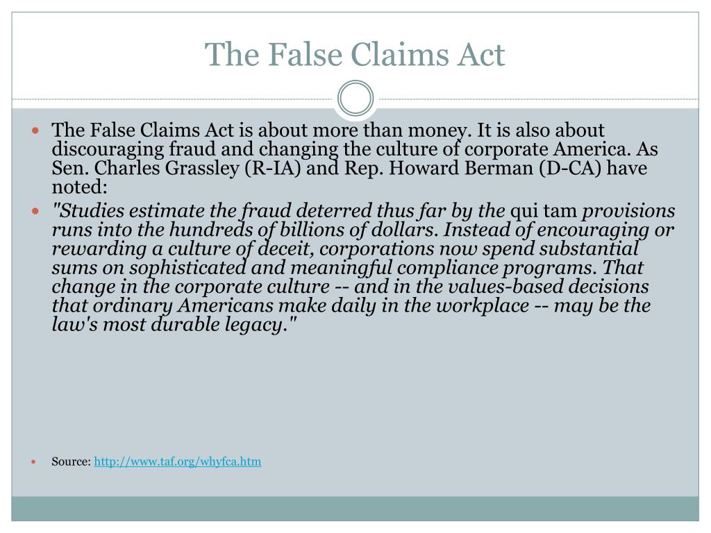 The False Claims Act