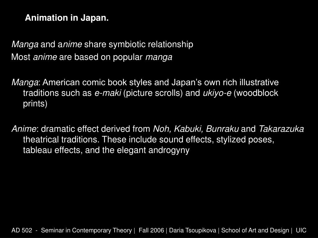Animation in Japan.