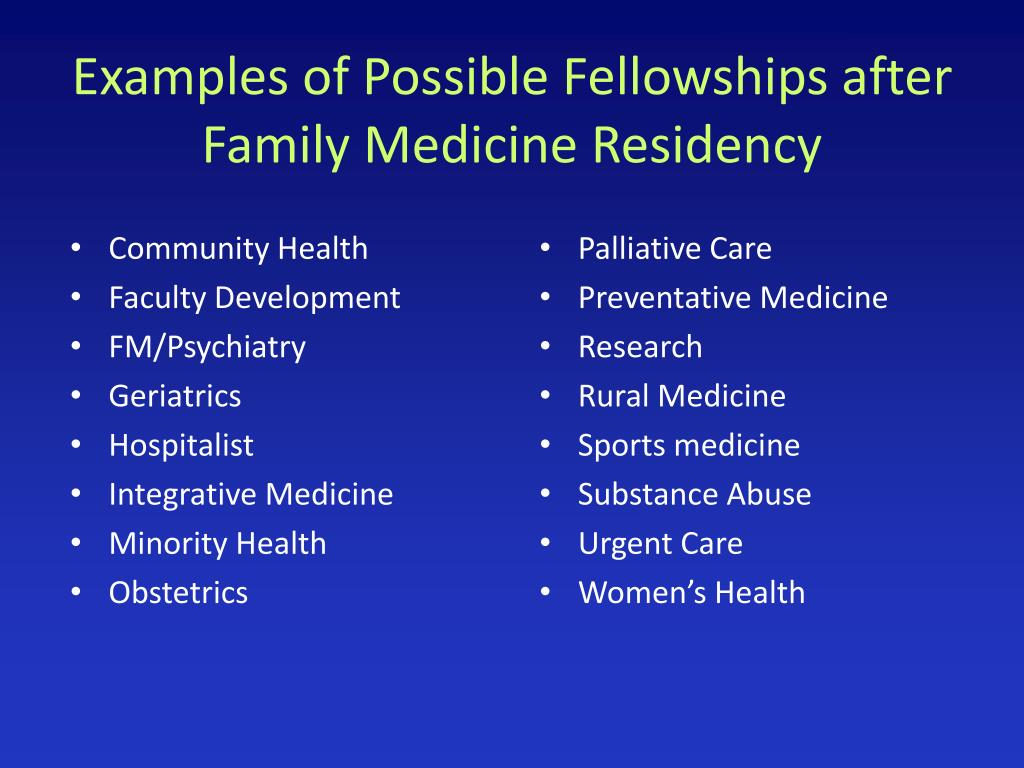 Examples of Possible Fellowships after Family Medicine Residency