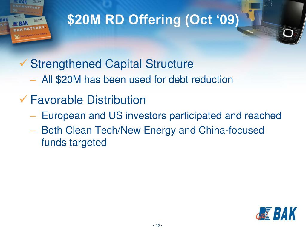 $20M RD Offering (Oct '09)