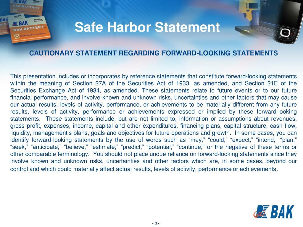 CAUTIONARY STATEMENT REGARDING FORWARD-LOOKING STATEMENTS