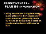 effectiveness plan b information
