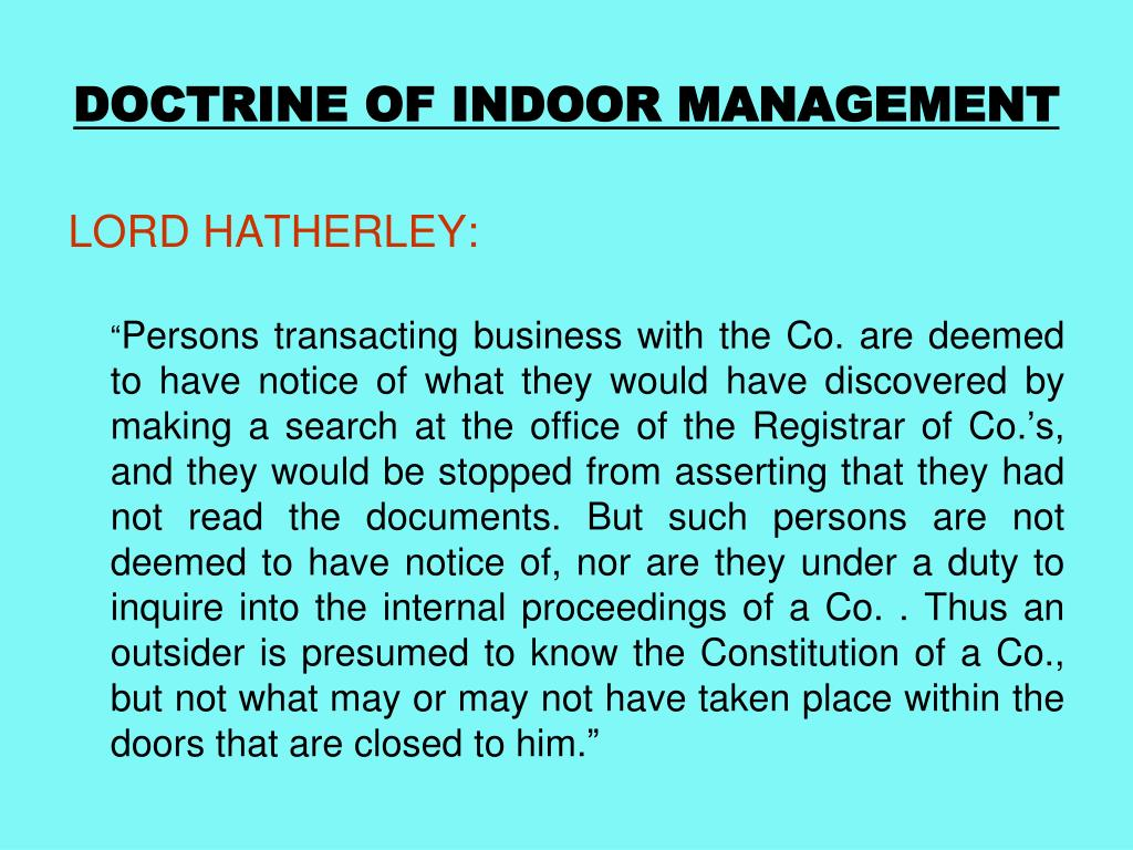 DOCTRINE OF INDOOR MANAGEMENT