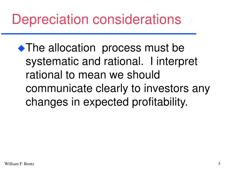 Depreciation considerations