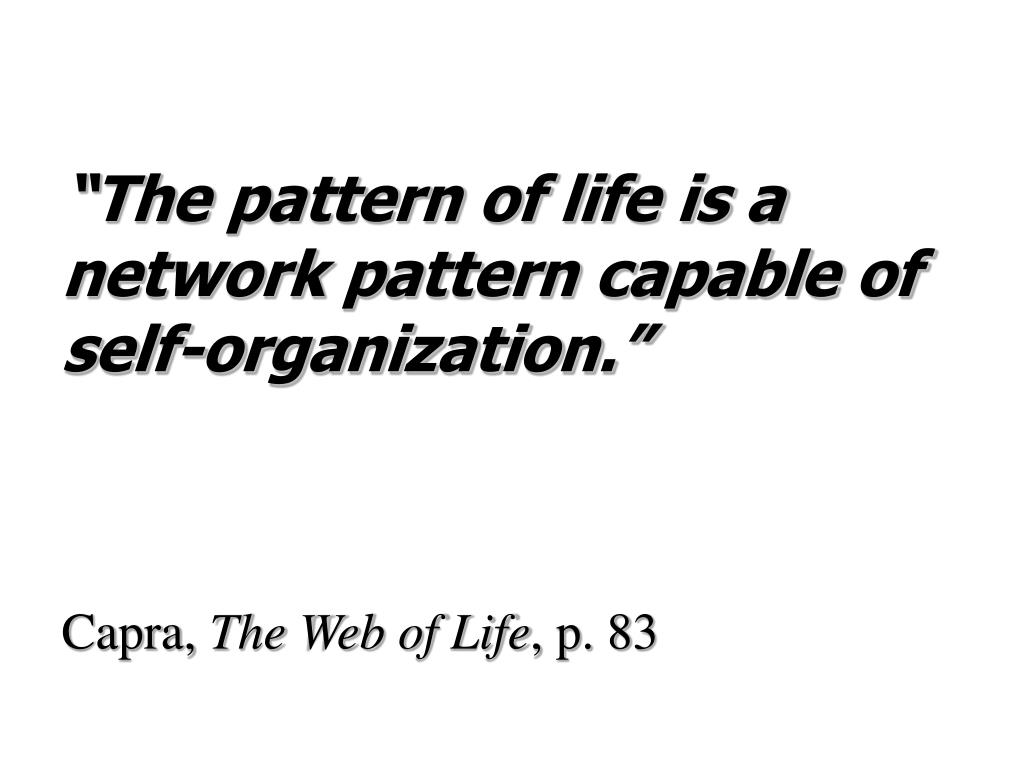 """The pattern of life is a network pattern capable of self-organization."""