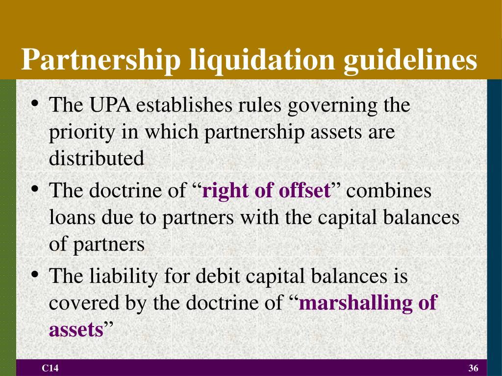 Partnership liquidation guidelines