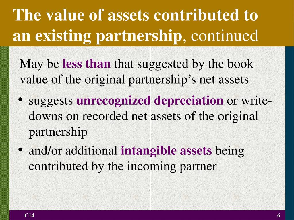 The value of assets contributed to an existing partnership