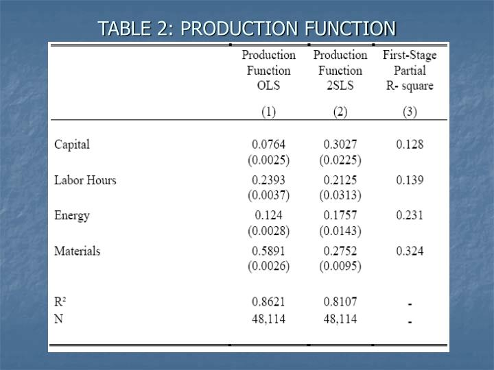 TABLE 2: PRODUCTION FUNCTION