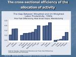 the cross sectional efficiency of the allocation of activity