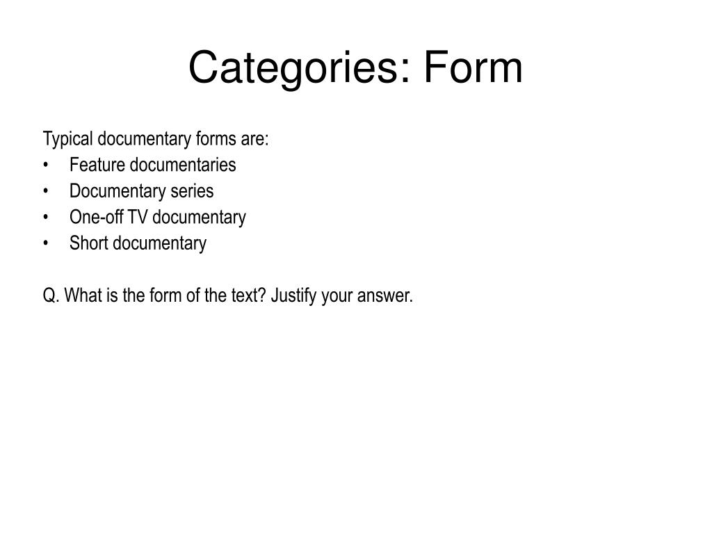 Categories: Form