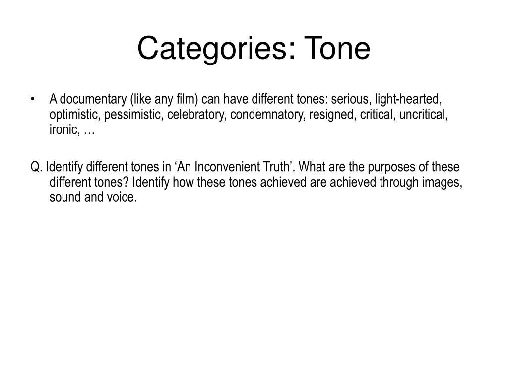 Categories: Tone