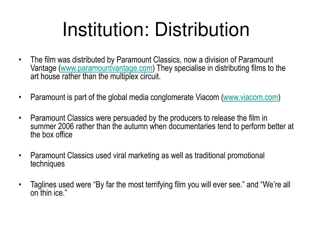 Institution: Distribution