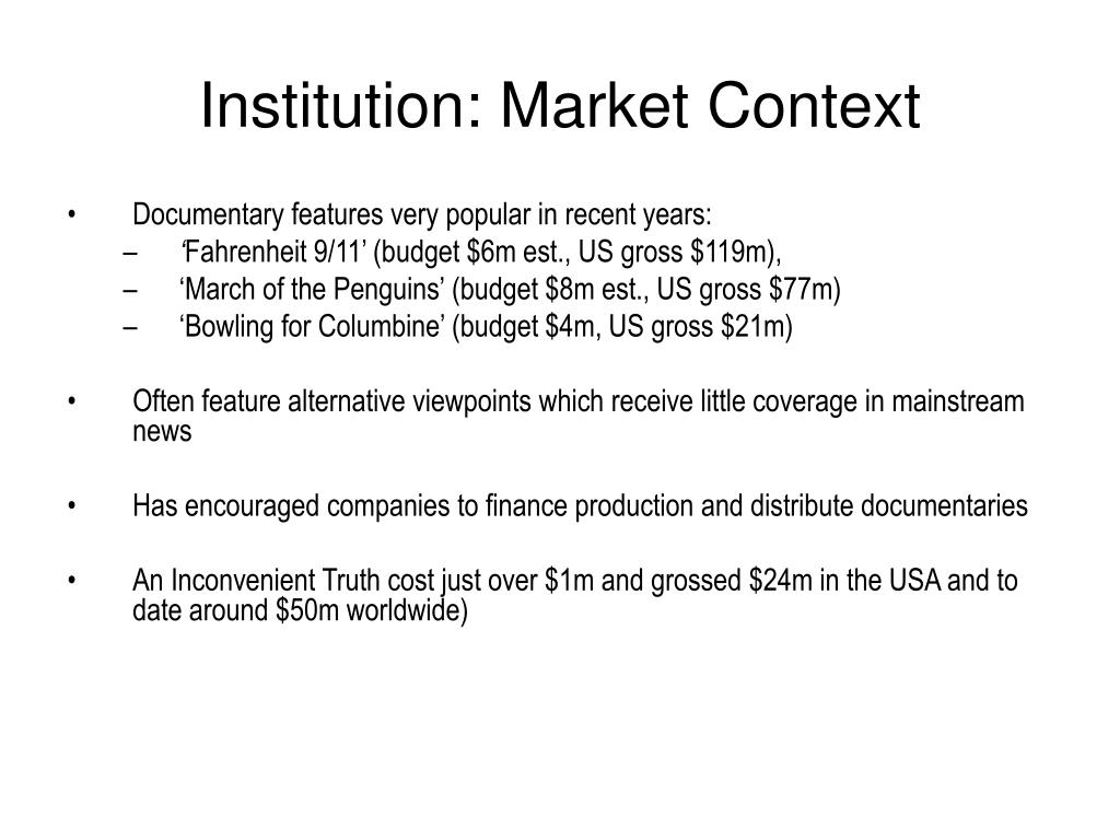 Institution: Market Context