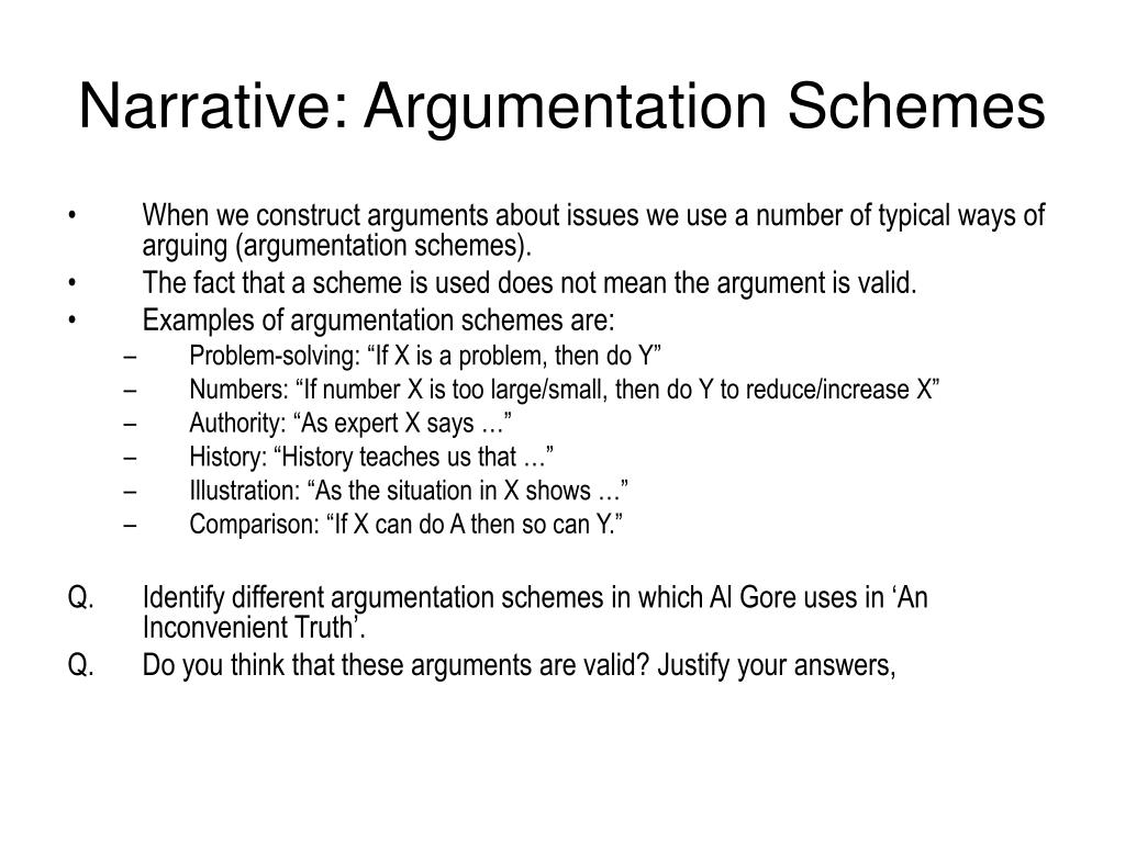 Narrative: Argumentation Schemes