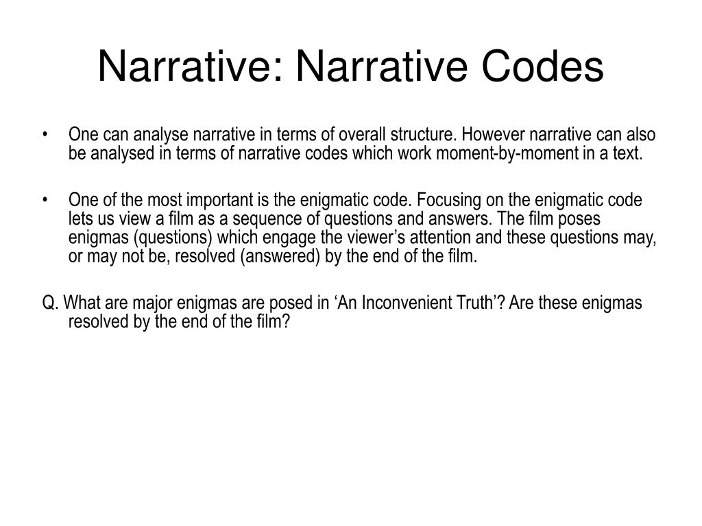 Narrative: Narrative Codes