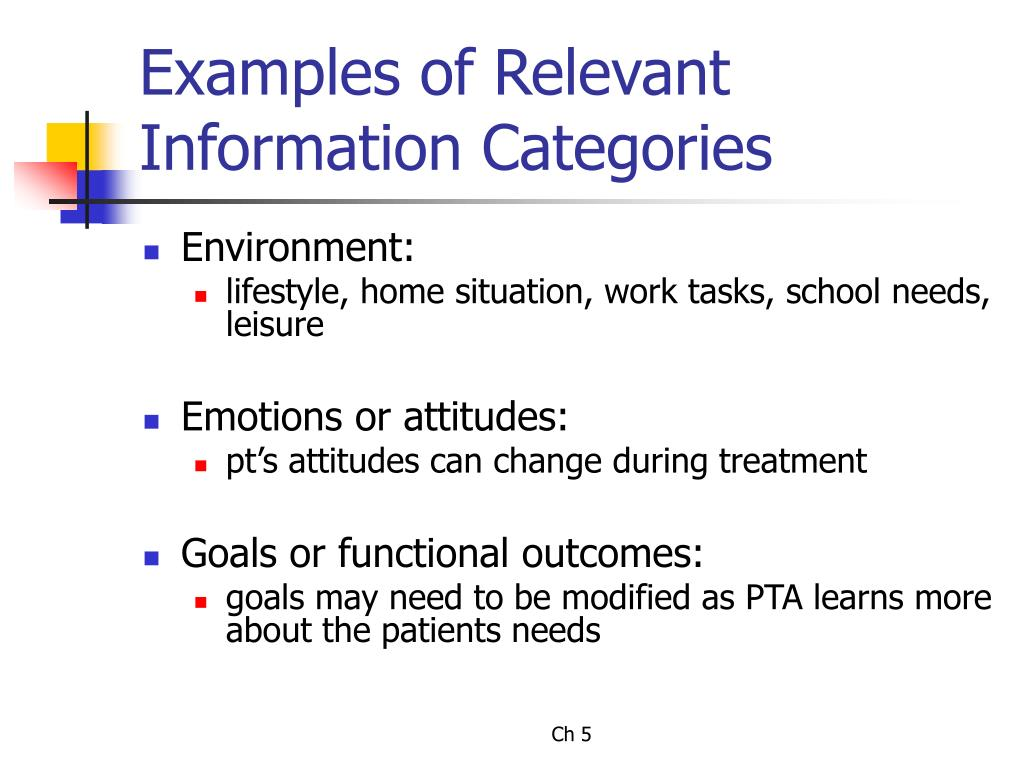 Examples of Relevant Information Categories