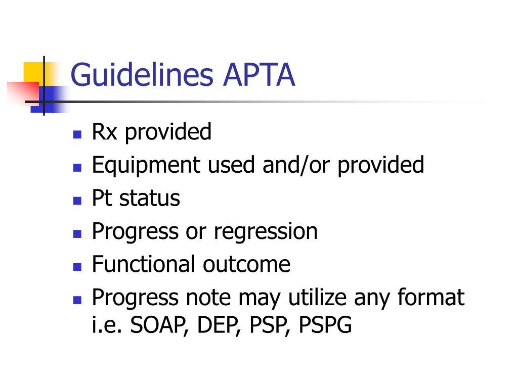 Guidelines APTA