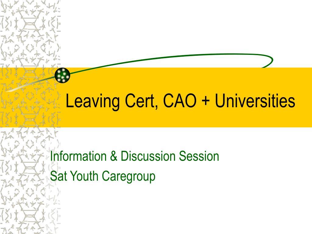 Leaving Cert, CAO + Universities