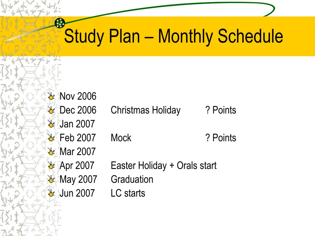 Study Plan – Monthly