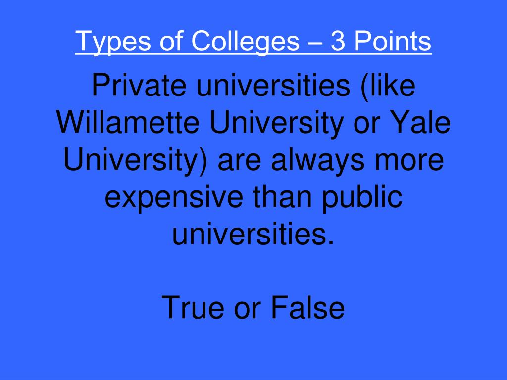 Types of Colleges – 3 Points