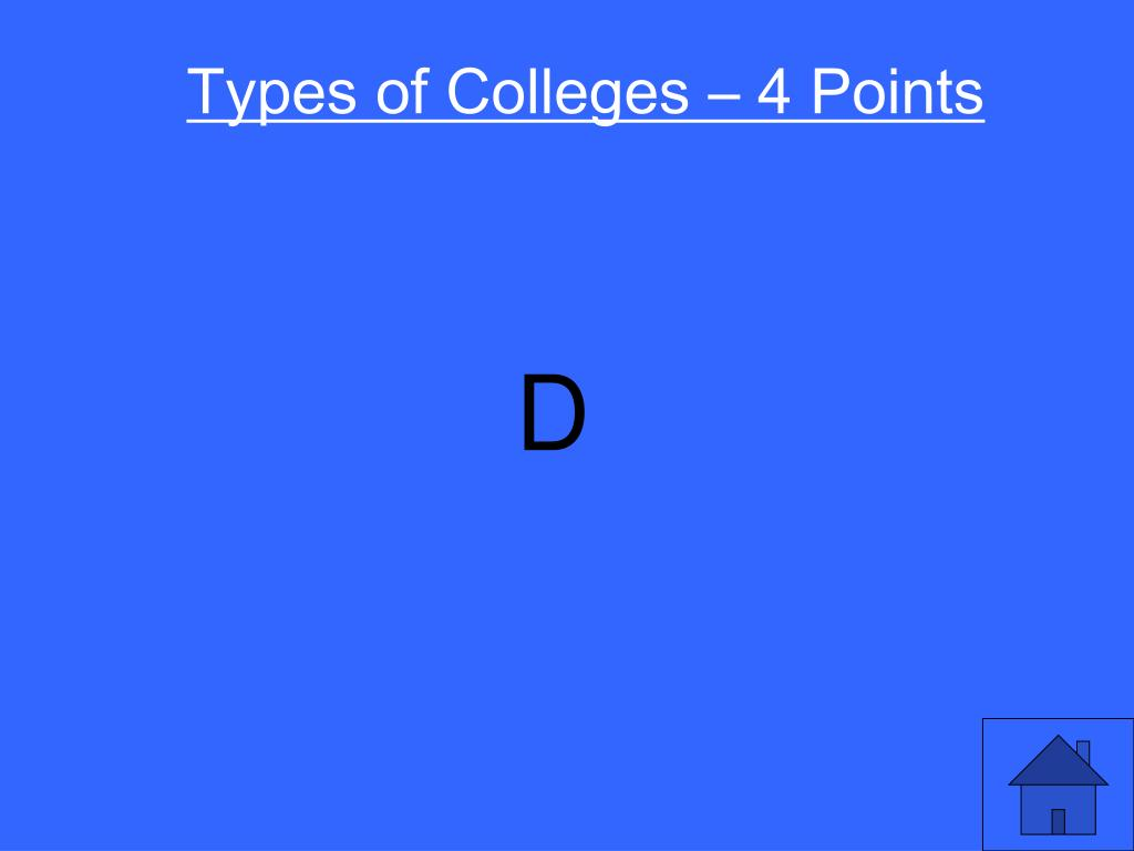 Types of Colleges – 4 Points