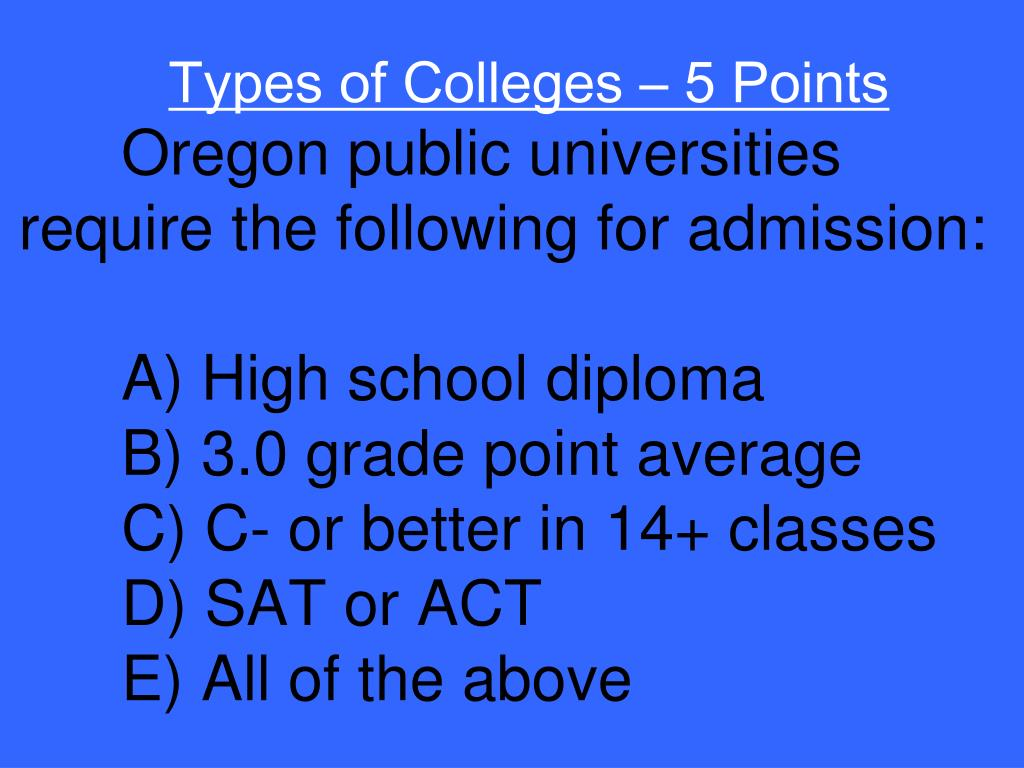Types of Colleges – 5 Points