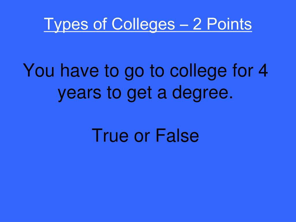 Types of Colleges – 2 Points