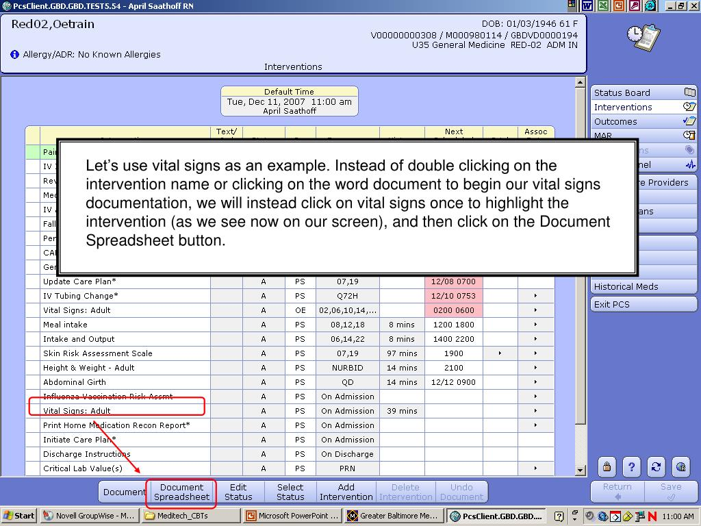 Let's use vital signs as an example. Instead of double clicking on the intervention name or clicking on the word document to begin our vital signs documentation, we will instead click on vital signs once to highlight the intervention (as we see now on our screen), and then click on the Document Spreadsheet button.
