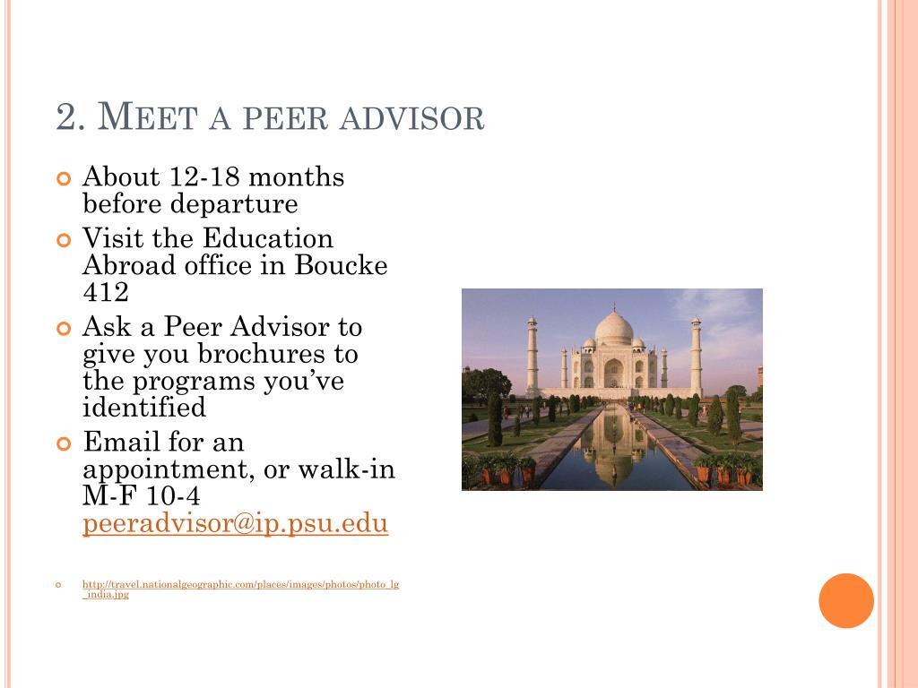 2. Meet a peer advisor