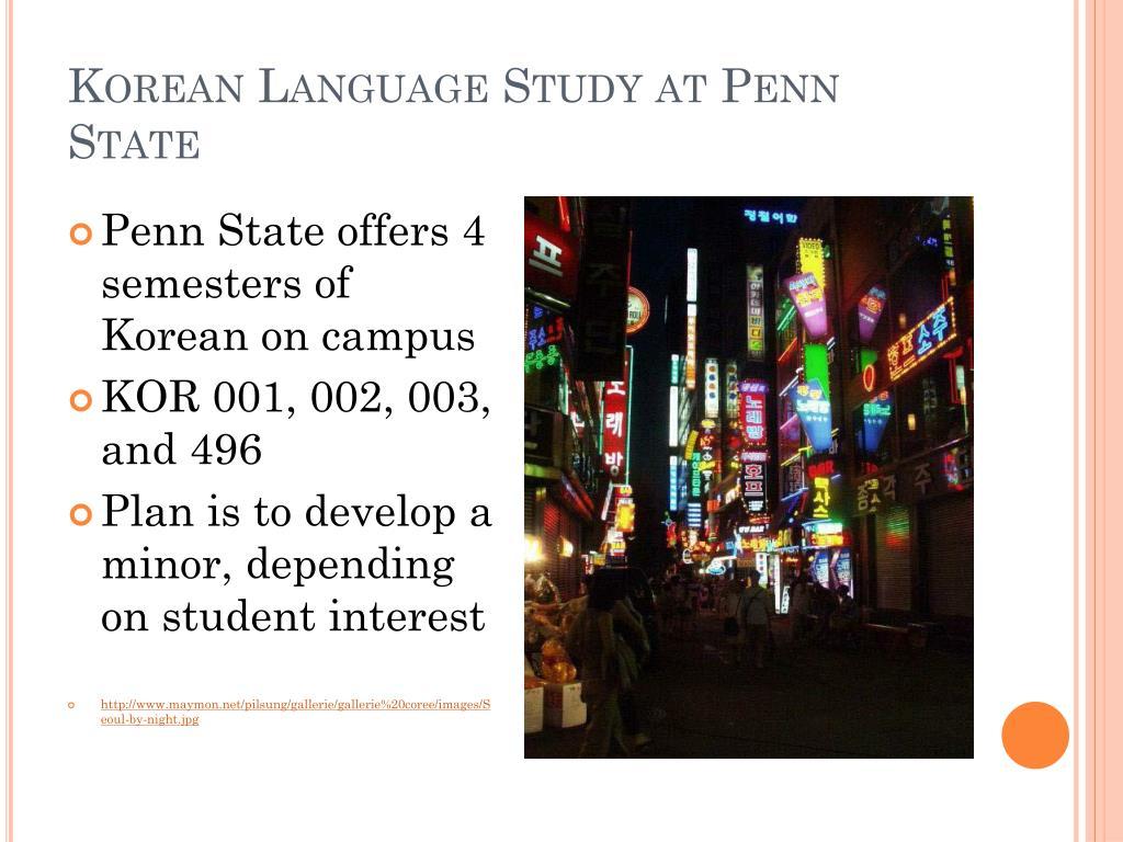 Korean Language Study at Penn State