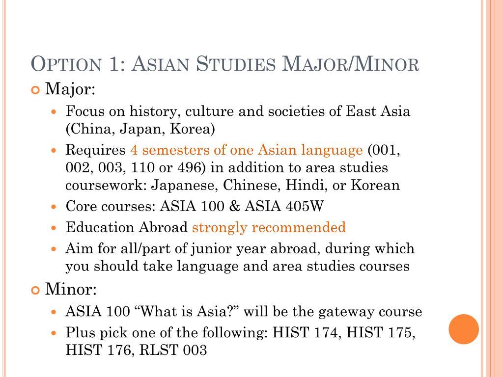 Option 1: Asian Studies Major/Minor