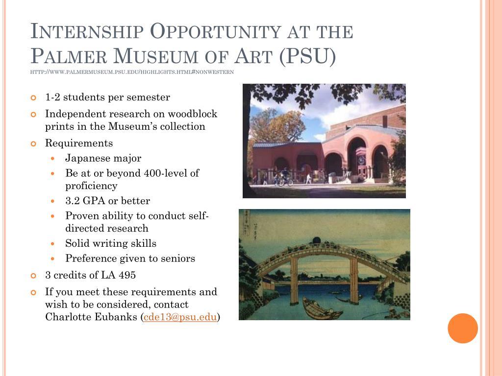 Internship Opportunity at the Palmer Museum of Art (PSU)
