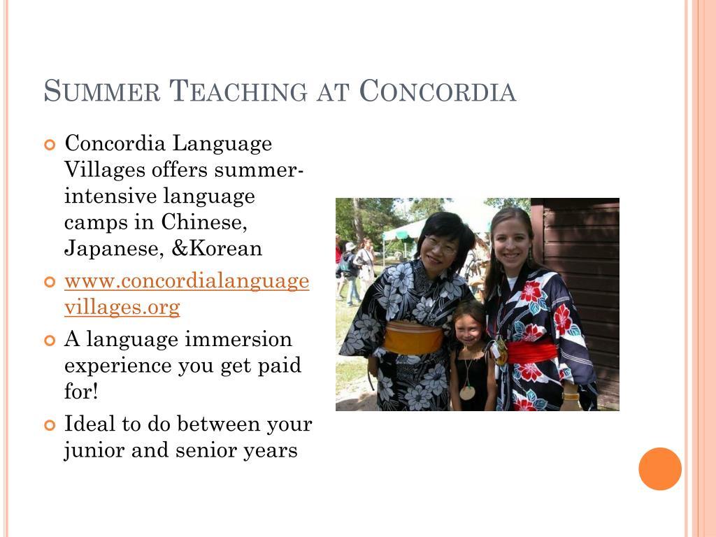 Summer Teaching at Concordia