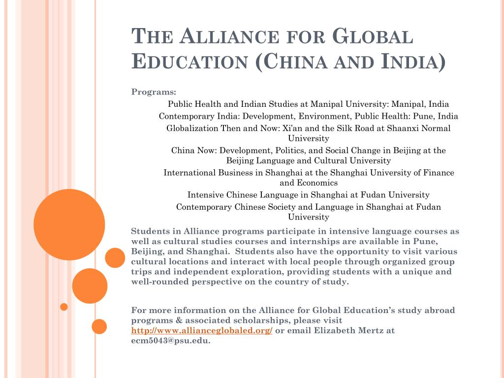The Alliance for Global Education (China and India)