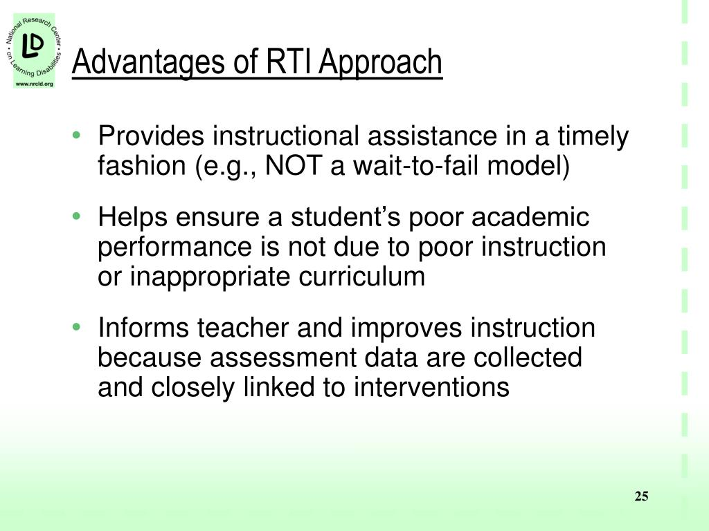 Advantages of RTI Approach