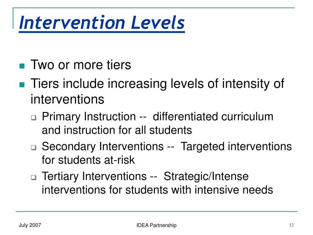 Intervention Levels