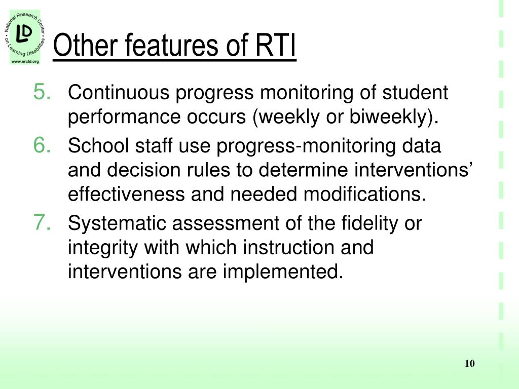 Other features of RTI