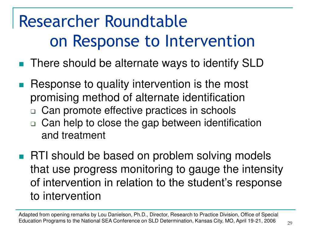 Researcher Roundtable on Response to Intervention