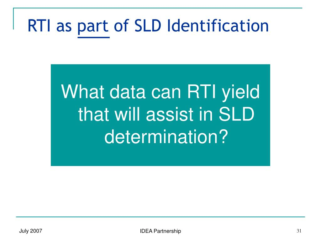 RTI as part of SLD Identification