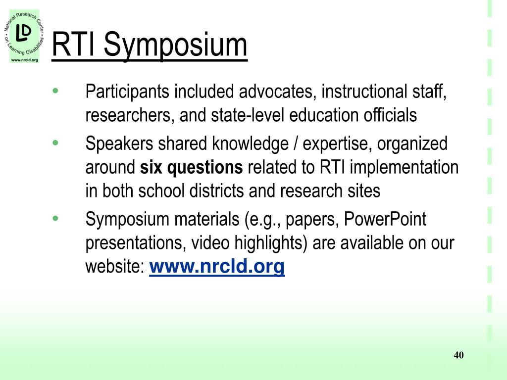 RTI Symposium