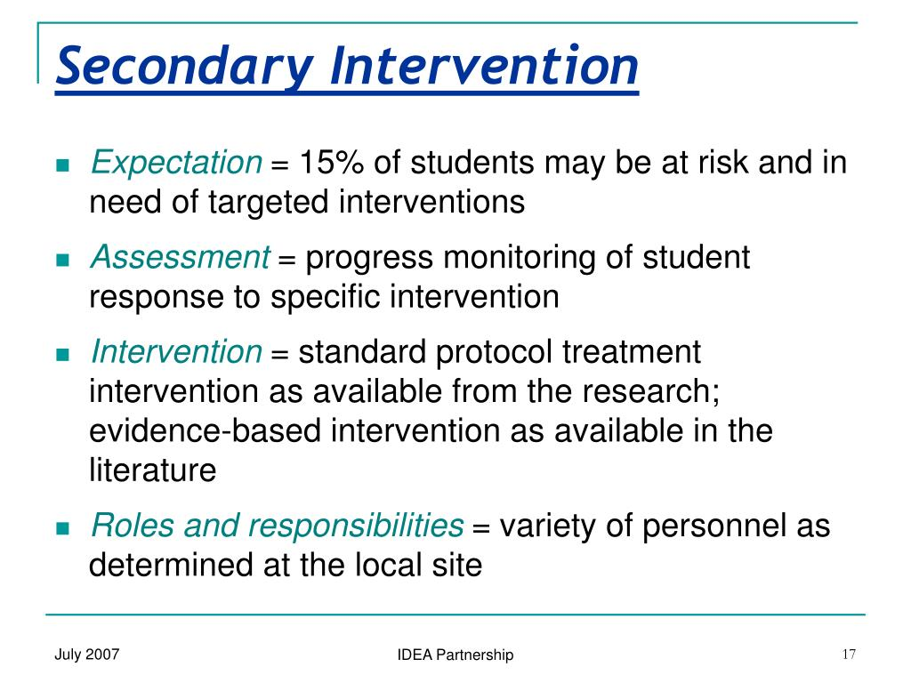 Secondary Intervention
