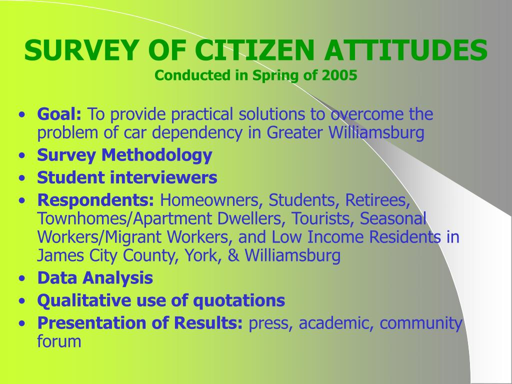 SURVEY OF CITIZEN ATTITUDES