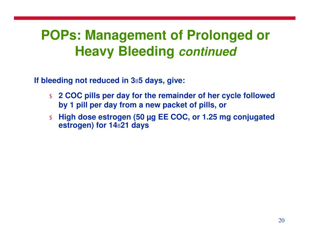 POPs: Management of Prolonged or Heavy Bleeding