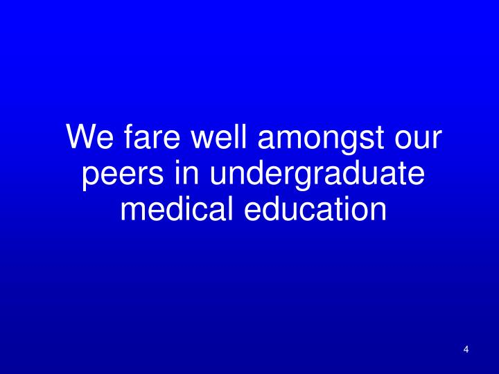 We fare well amongst our peers in undergraduate medical education