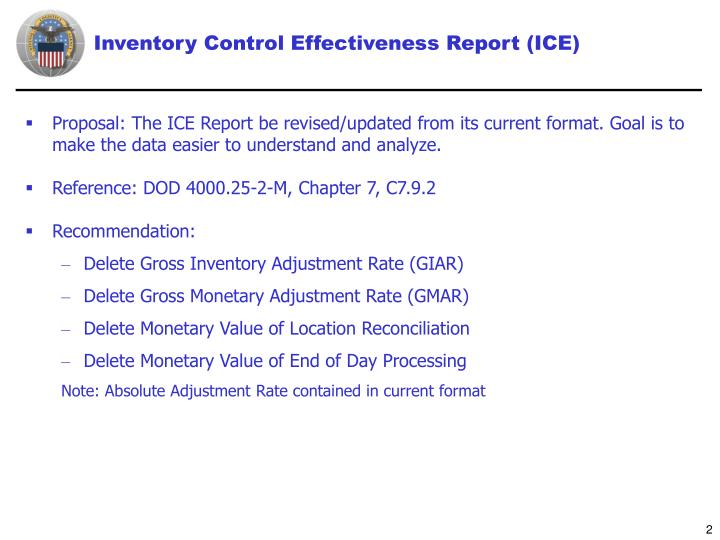 Inventory control effectiveness report ice